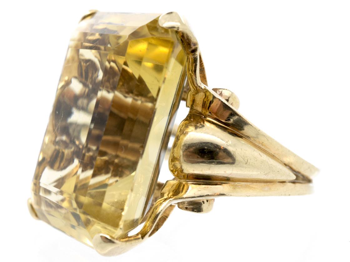 Large 14ct Gold Rectangular Retro Citrine Ring