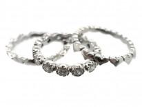Triple Diamond & 18ct White Gold Hearts Eternity Ring