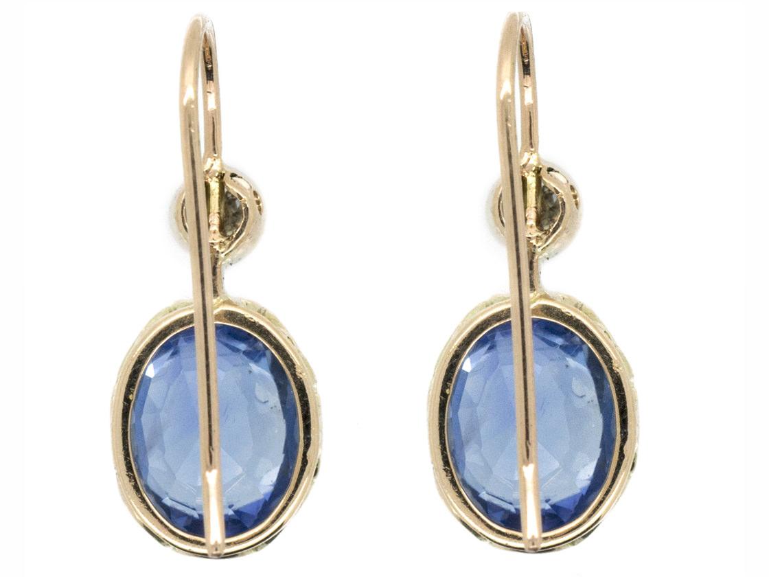 Edwardian 18ct Gold Ceylon Sapphire & Diamond Earrings