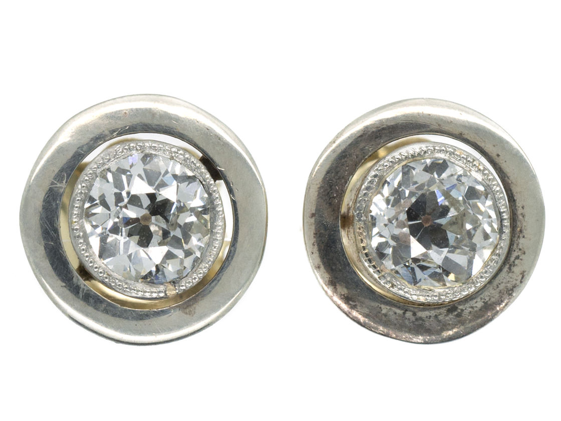 Art Deco 18ct White & Yellow Gold Solitaire Earrings