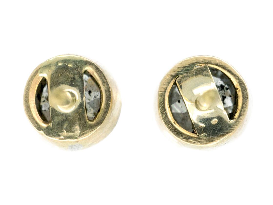 Diamond Platinum & 18ct Gold Millegraine Set Solitaire Earrings