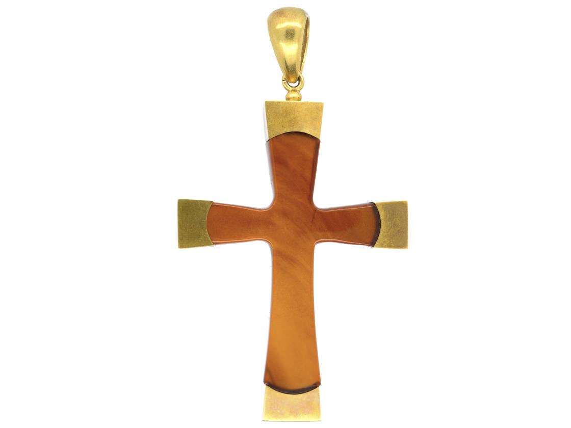 Victorian 18ct Gold & Blonde Tortoiseshell Cross in the Original Case