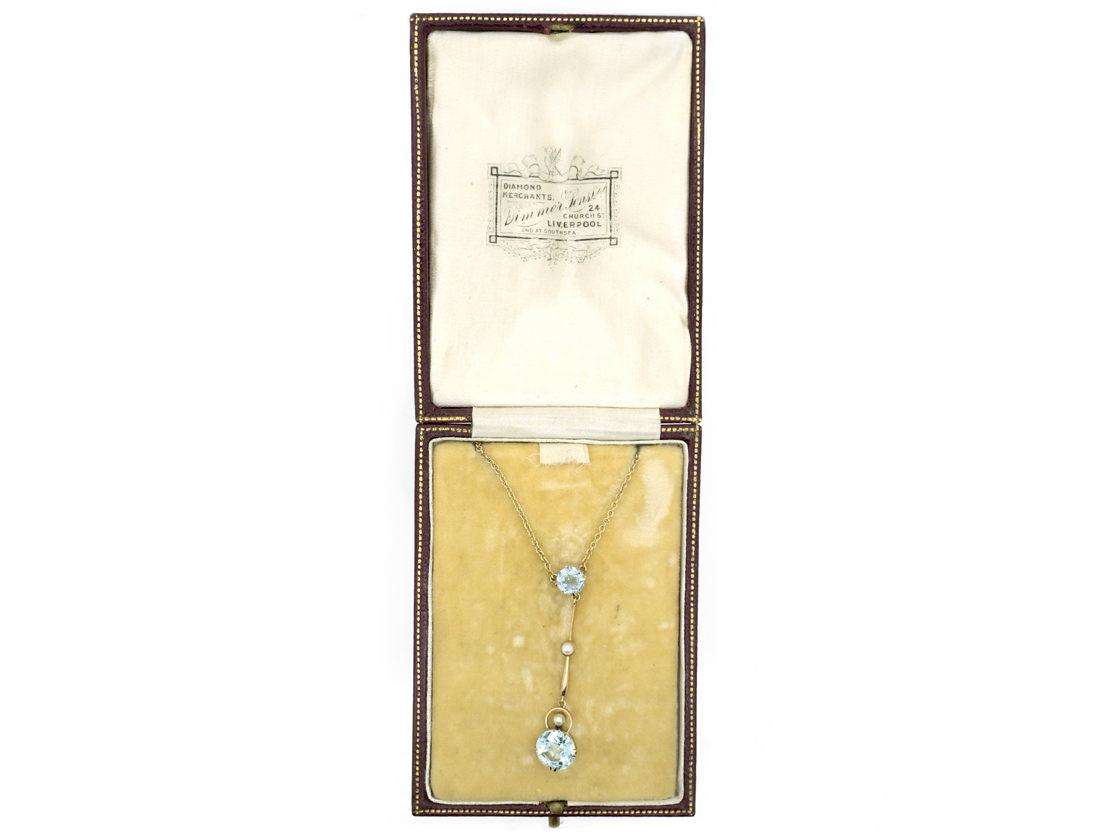 Art Deco Aquamarine & Pearl Pendant in Original Case