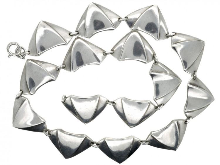 Silver Parachute Design Retro Necklace