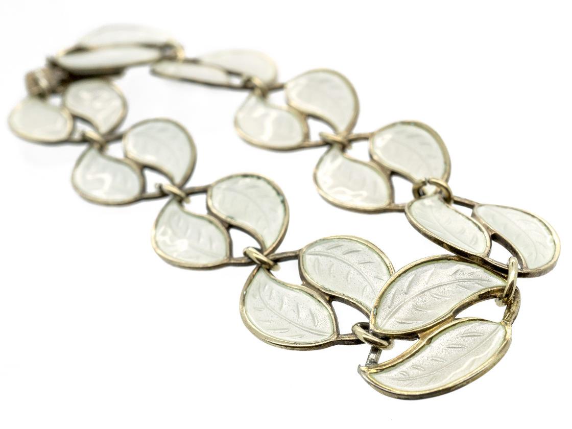 Silver & White Enamel Leaf Bracelet by Willy Winnaes for David Andersen