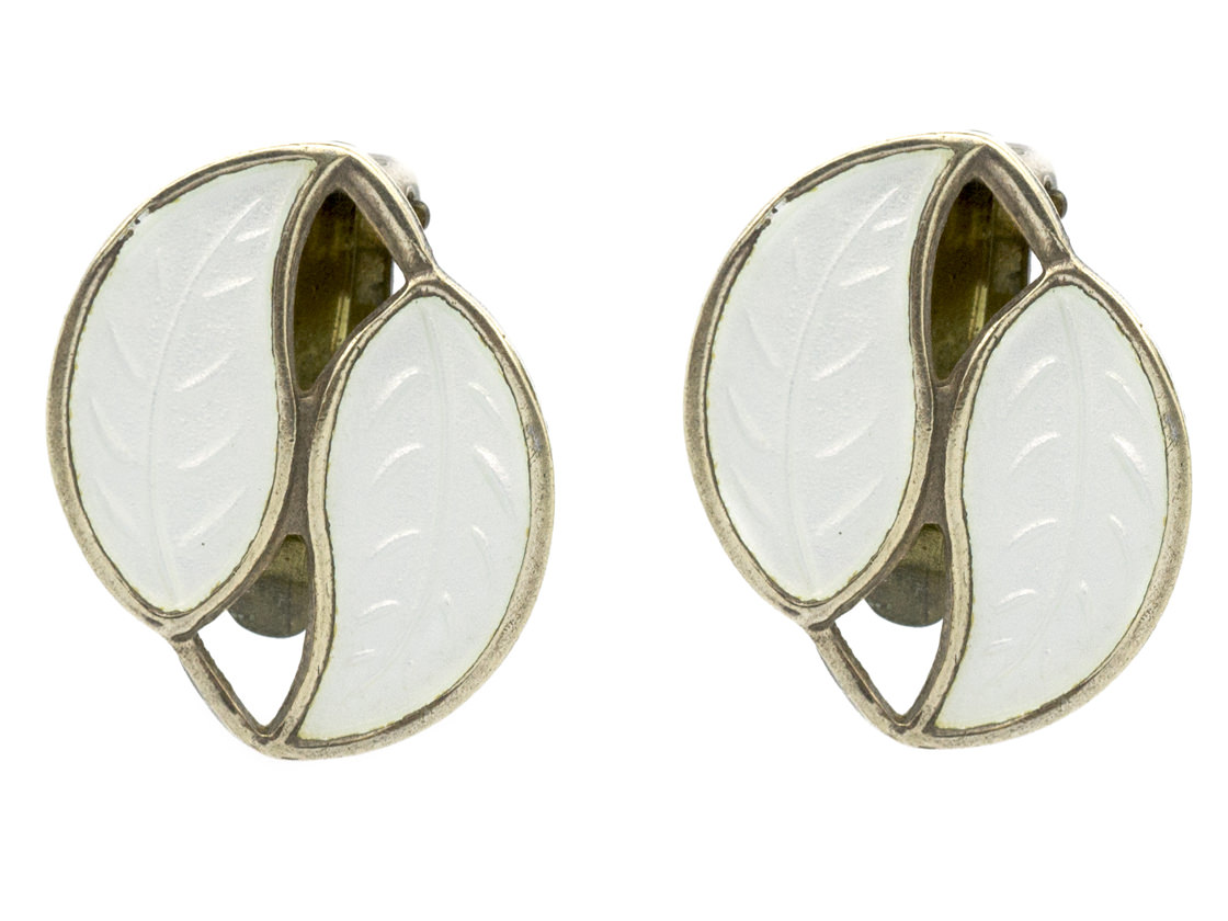 Silver & White Enamel Leaf Earrings by Willy Winnaes for David Andersen