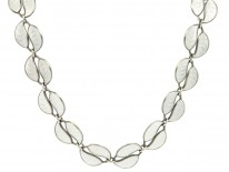Silver & White Enamel Leaf Necklace by Willy Winnaes for David Andersen