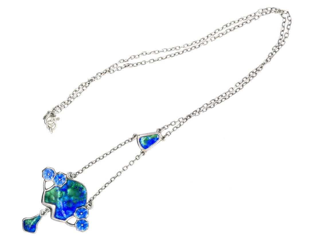 Art Nouveau Silver & Enamel Pendant on Chain by Charles Horner