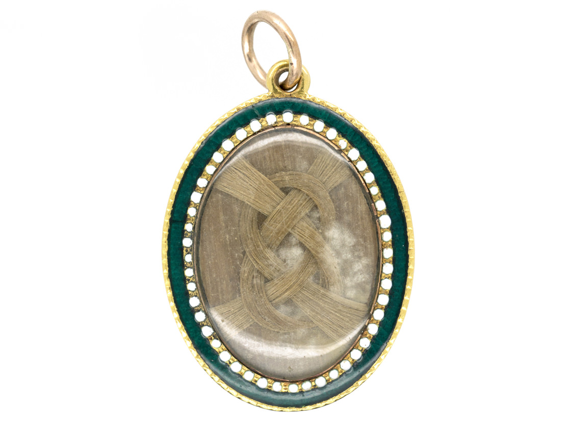Georgian Gold Blue White & Green Enamel Pendant with Diamond Set Initials A B