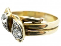 Edwardian 18ct Gold, Platinum & Diamond Double Snake Ring