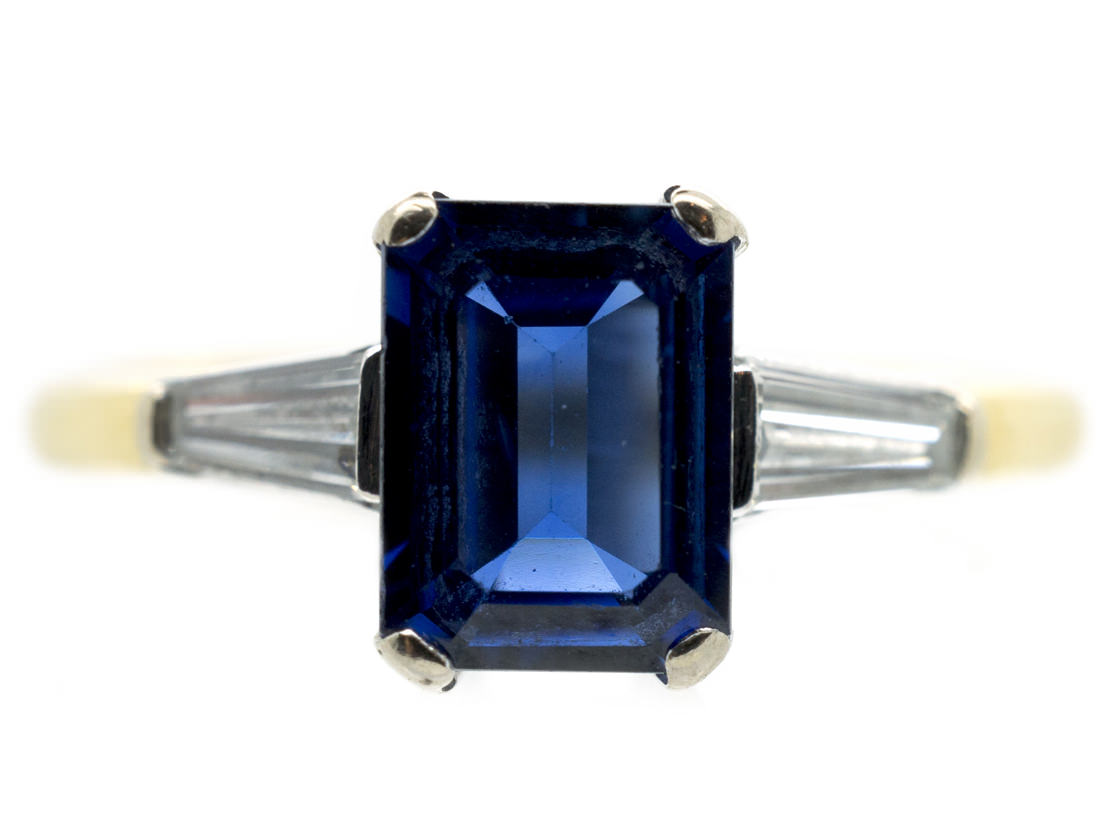 18ct Gold Sapphire & Diamond Tapered Baguettes Ring