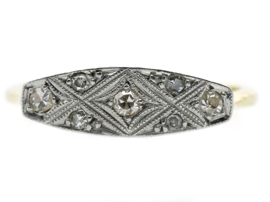 18ct & Platinum Art Deco Criss Cross Diamond Ring
