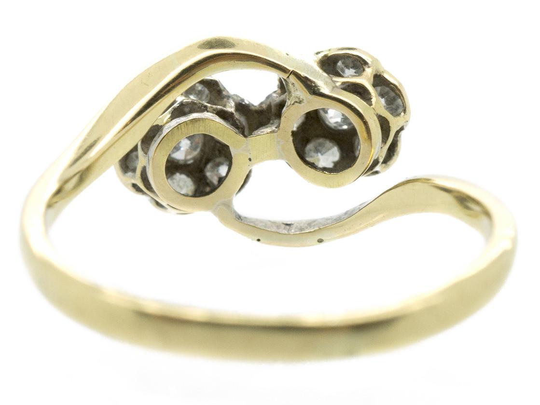 Edwardian Diamond Double Cluster 18ct Gold & Platinum Ring