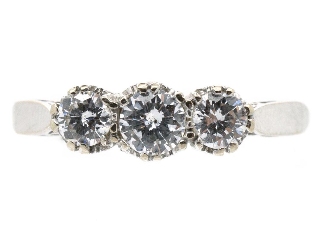 18ct White Gold Diamond Three Stone Ring