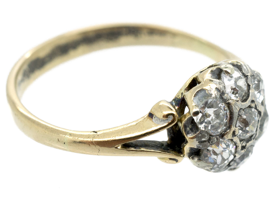 Edwardian 18ct Gold Old Mine Cut Diamond Cluster Ring