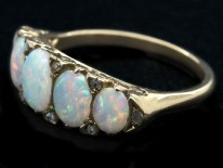 Victorian 18ct Gold Opal & Diamond Five Stone Carved Hoop Ring