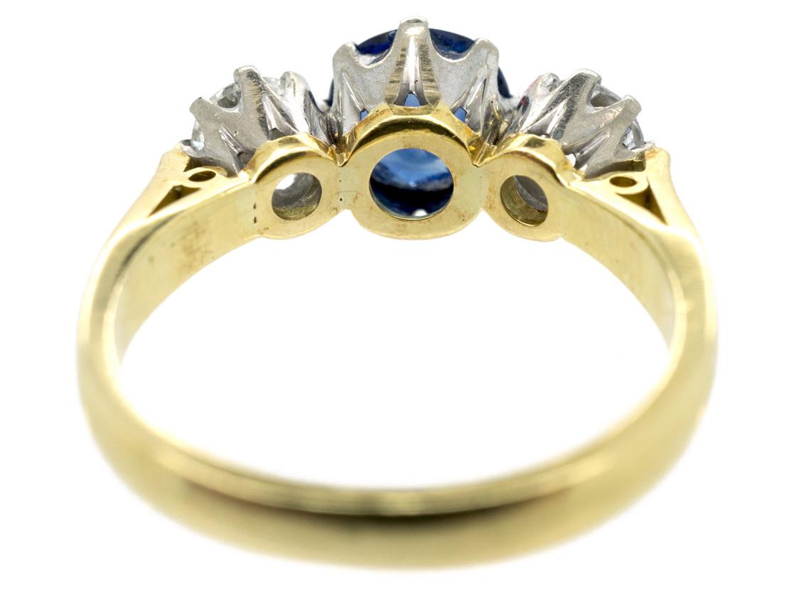Natural Ceylon Sapphire & Diamond Three Stone Ring