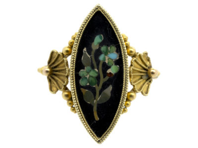 Victorian 18ct Gold Pietra Dura Forget Me Not Marquise Ring
