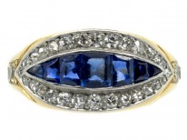 18ct Gold French Art Deco Sapphire & Diamond Boat Shaped Ring