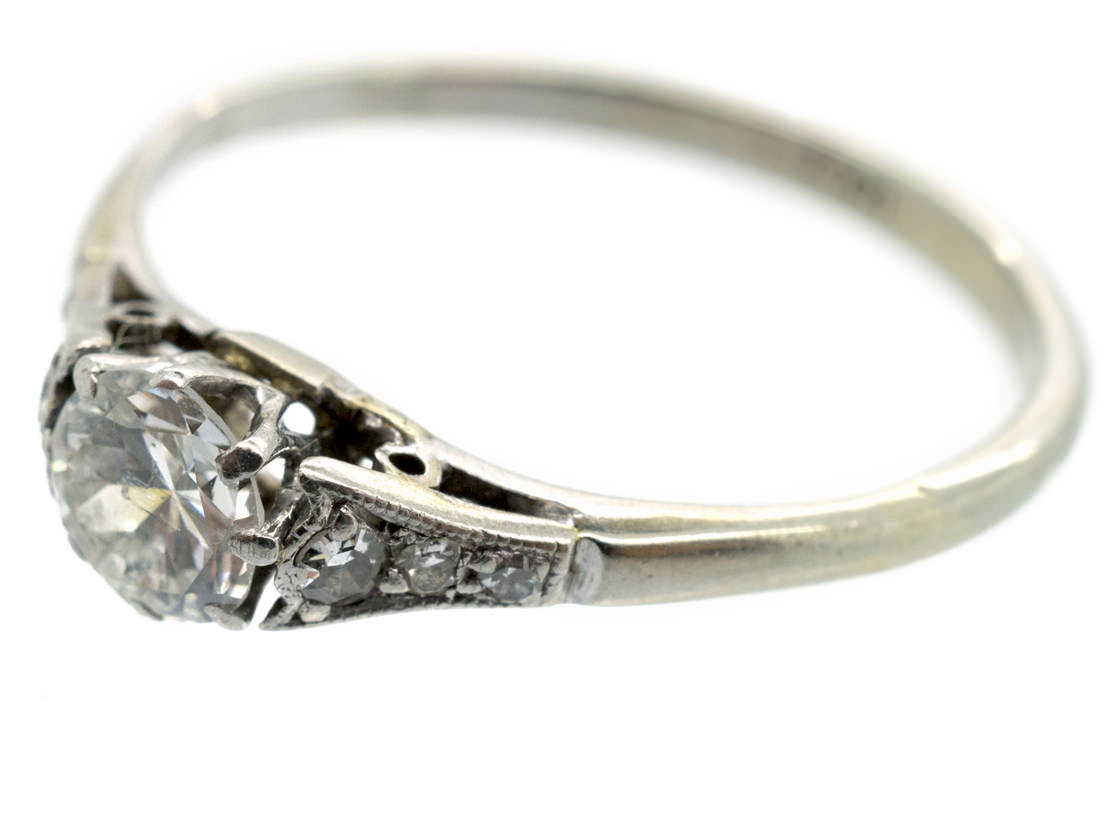 18ct White Gold & Platinum Diamond Solitaire Ring with Diamond Shoulders