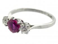 Art Deco Ruby & Diamond Three Stone Platinum Ring