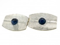 Art Deco 18ct Gold & Platinum Cabochon Sapphire Cufflinks
