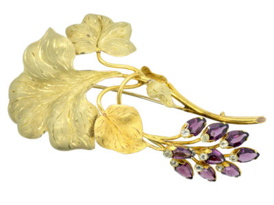 Early Victorian 18ct Two Colour Gold Botanical Brooch