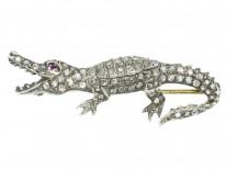 Diamond Set Alligator Brooch