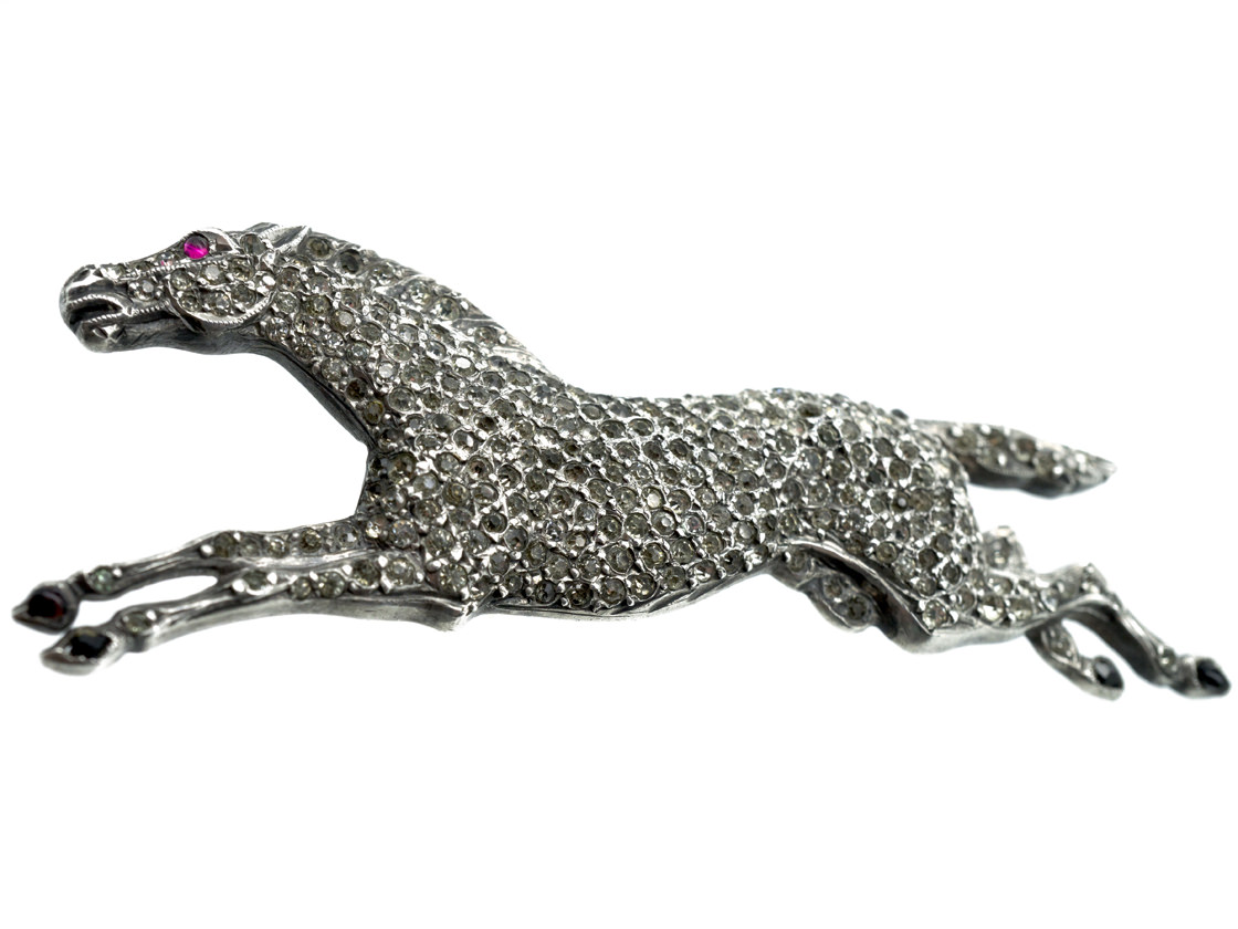 French Silver, Enamel & Paste Brooch of a Galloping Horse