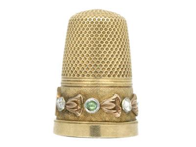 Victorian 15ct Three Colour Gold Thimble set with Emeralds & Rose Diamonds
