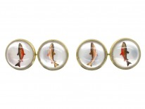 14ct Gold Rock Crystal Intaglio Cufflinks of Salmon & Trout
