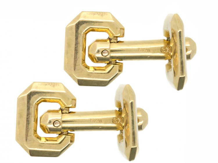 French 18ct Gold Hinged Cufflinks