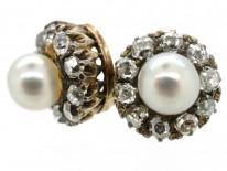 Edwardian Natural Pearl & Diamond Cluster Earrings
