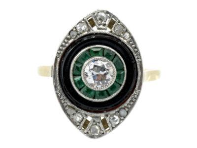 Art Deco 18ct Gold & Platinum Diamond, Onyx & Emerald Marquise shaped Ring