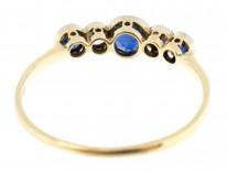 Five Stone 18ct Gold Diamond & Sapphire Ring