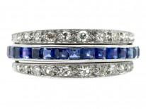 Art Deco 18ct White Gold Diamond Sapphire & Ruby Flipover Night & Day  Ring