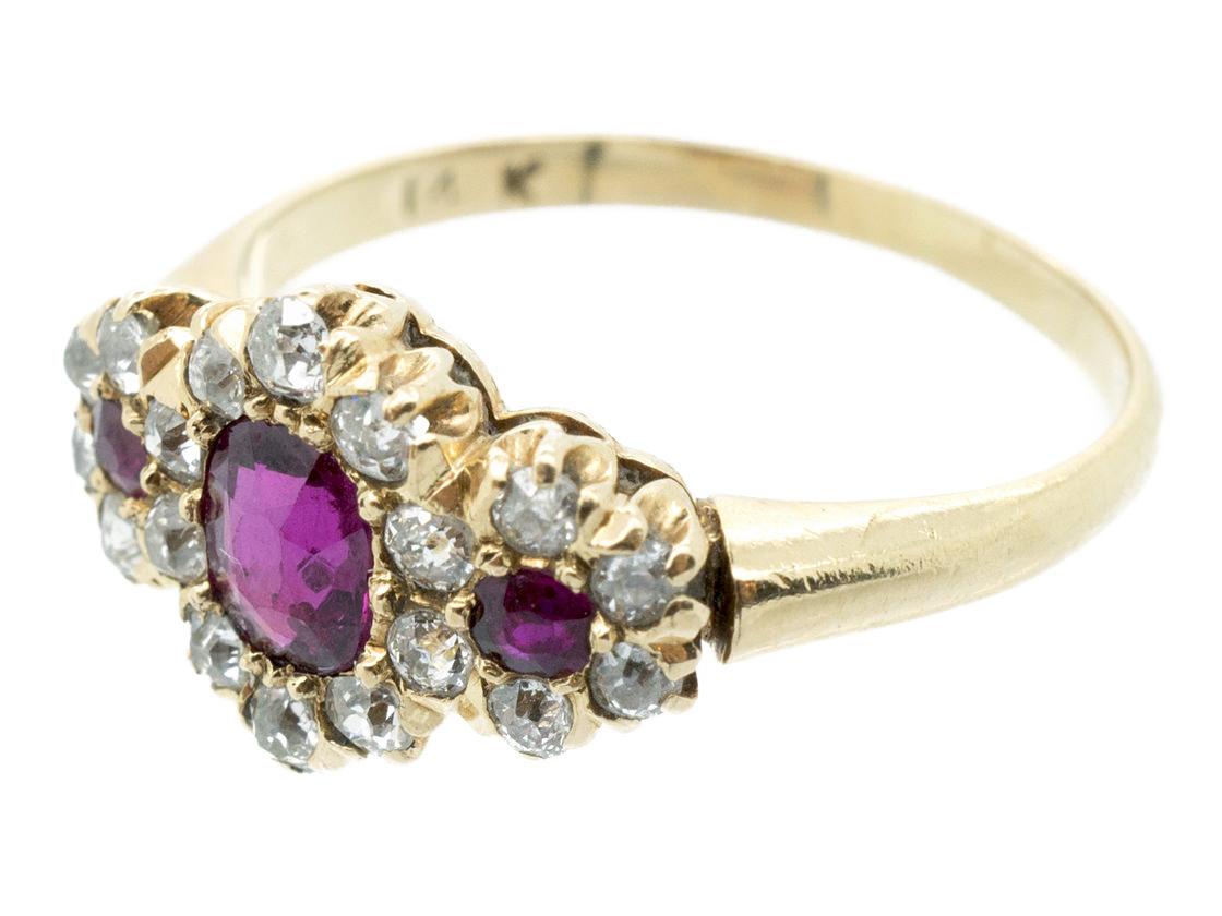 Ruby & Diamond Triple Cluster Ring
