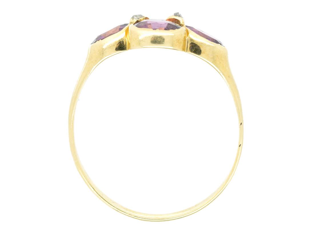 Victorian 15ct Gold Almandine Garnet & Rose Diamond Ring