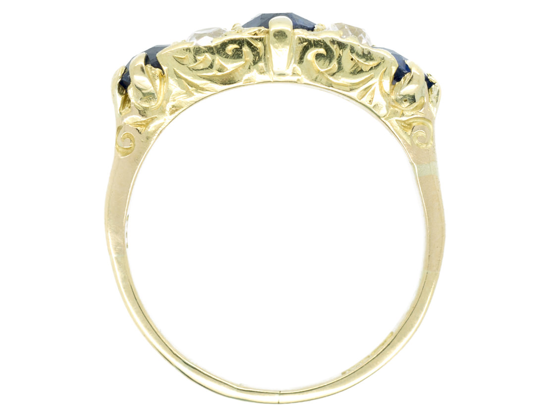 Edwardian 18ct Gold & Platinum Three Stone Sapphire & Diamond Ring