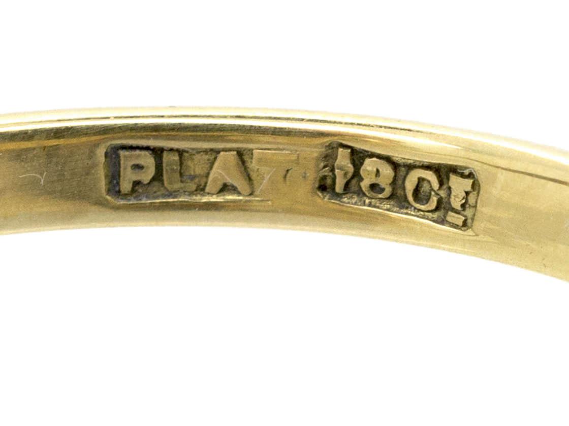 Edwardian 18ct Gold & Platinum Diamond & Emerald Crossover Ring
