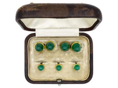 18ct Gold & Chrysoprase Cufflinks & Studs Set in Original Case