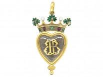 Victorian 18ct Gold Coronet Pendant in Original Case