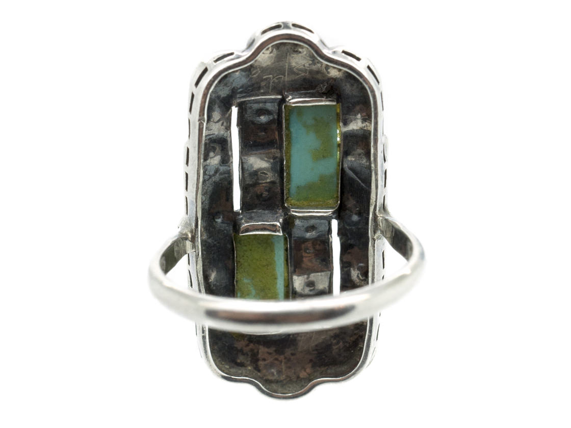 Art Deco Silver, Marcasite & Turquoise Rectangular Ring