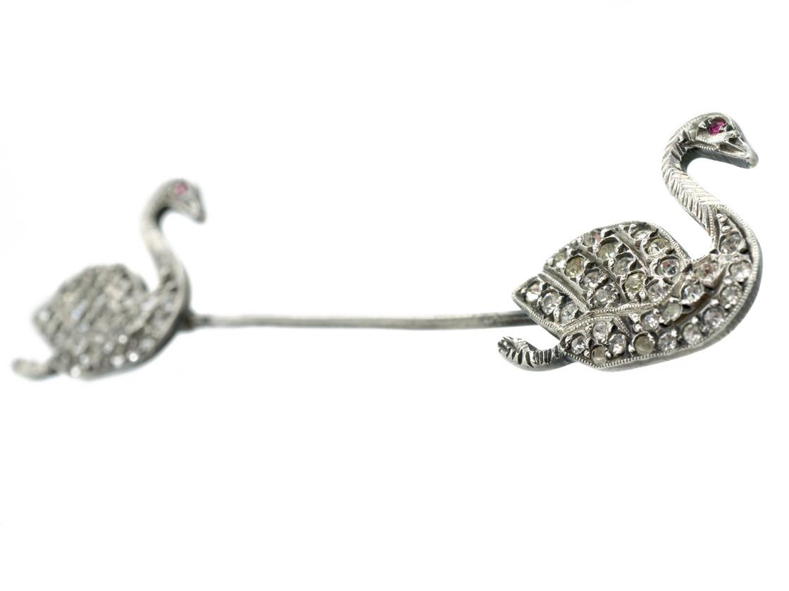 Edwardian Silver & Paste Surete Pin of Two Swans