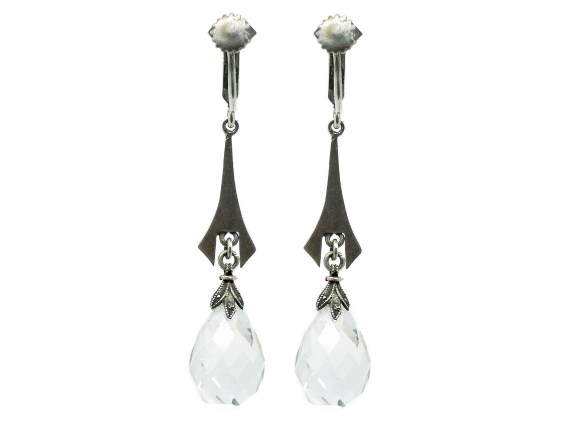 Art Deco Silver, Rock Crystal & Marcasite Drop Earrings