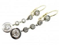Art Deco Five Diamond Drop Earrings