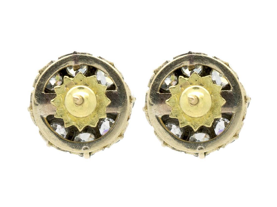 Natural Pearl & Diamond Cluster Earrings