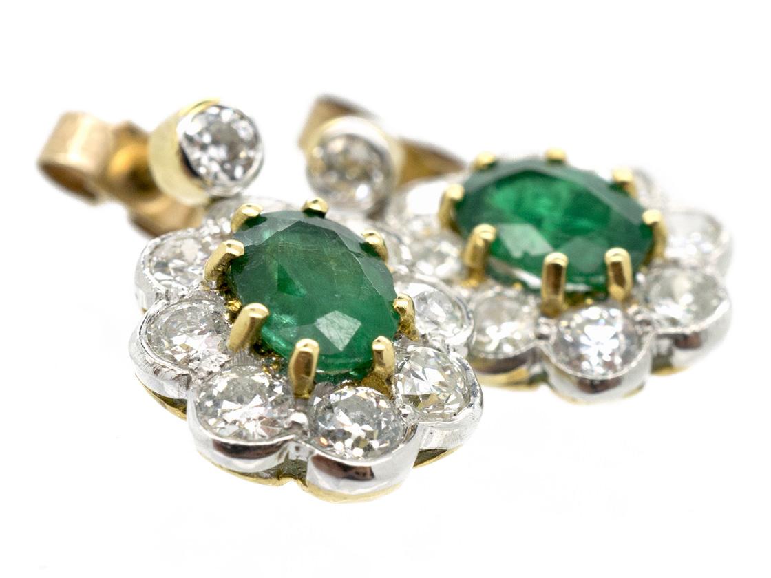 Emerald & Diamond Drop Cluster Earrings