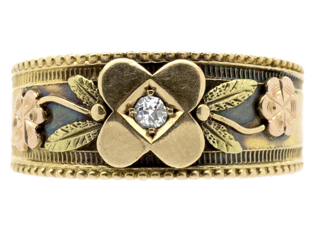 Victorian Three Colour 18ct Gold & Diamond Flower Ring