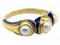 Victorian 18ct Gold Royal Blue Enamel & Natural Pearl Ring